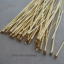 100 gold plated brass jewelry headpins 4 inch 21 gauge