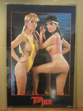 Vintage 1986 Top her poster arm wrestle hot girls car garage man cave 4030