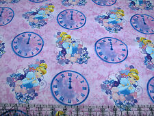 1 Yard Quilt Cotton Fabric- Springs Disney Cinderella Clocks Time is Ticking Pnk
