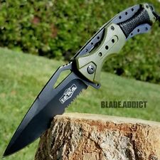 """8.25"""" Army Green Tactical Combat Spring Assisted Open Folding Pocket Knife EDC M"""