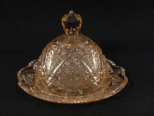 Pink Depression Glass HOBSTAR BUTTER CHEESE DISH w/ DOME LID