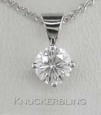 0.40ct F SI Exc Round Brilliant Cut Diamond & 18ct White Gold Pendant with Chain