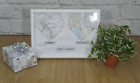 Personalised  Map Gift Framed Engagement Wedding Present First Anniversary Home