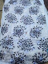 FLORAL SHEER BURNOUT SEQUIN EMBROIDERY ITALIAN PURE SILK  DRESS FABRIC