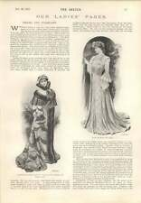 1901 Handsome Opera Cloak White Satin Sable Pink Chiffon And Lace