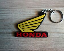 HONDA wing Keychain Key ring Yellow Rubber Motorcycle Bike Car Collectible Gift