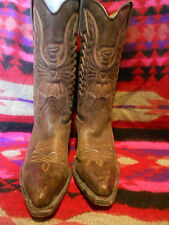 santana western cowboy boots brown leather made in spain size 36