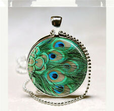 Vintage Peacock feather Cabochon Glass Pendant with Ball Chain Necklace S#21