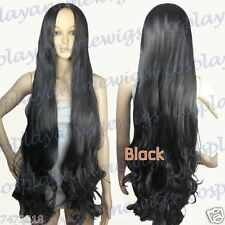 40 inch Heat Resistant No Bang Midpart Black Curly Extra Long Cosplay Wigs