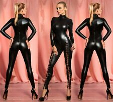 NUOVI Donna Nero Collo Alto Look Bagnato Tuta, catsuit, Club Wear Tg UK 10-12