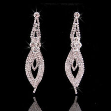 2015 Fashion WEDDING Gift BRIDAL Swarovski Element Crystal Long Earrings Dangle