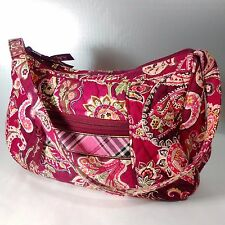 Vera Bradley Piccadilly Plum Hobo Handbag Bag Purse Red Floral Plaid Retired