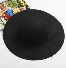 Women Ladies Fashion Floppy Wide Brim Wool Felt Bowler Beach Hat Summer Sun Cap