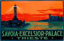 Savoia Excelsior Palace ~TRIESTE ITALY~ Gorgeous Hotel Luggage Label, c. 1930