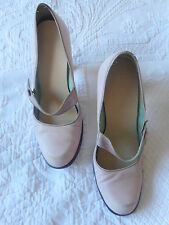 Office Pastel Pink Mary Jane Vintage Leather High Heeled Shoes Size 4 37