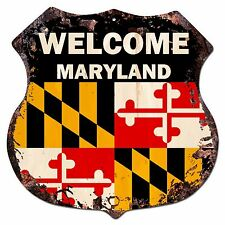 BP-0057 WELCOME MARYLAND State Flag Shield Chic Sign Bar Shop Home Decor Gift