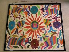 Vintage Mexican Folk Art Otomi Indian Hand Embroidered Framed Textile Sun