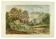 Elvetham Lake Hampshire Landscape Watercolour Painting M Harrison Autumn 1966