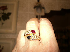 ITALIAN YELLOW GOLD 18k RING DIAMOND BLUE SAPHIRE 0,43ct RUBY 0,45ct *8+ OR 55+