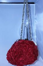 White House Black Market Red Rose Floral Evening Bag Silver Strap New NWT
