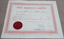 Toja Products Vintage 1938 Share Certificate