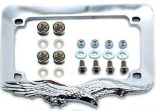 Chrome Eagle Motorcycle License Plate Frame Kit Stainless Screws & Diamond Caps