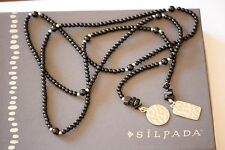 Silpada NEW Sterling Silver Onyx Glass Bead Lariat Necklace N1467 MINT $89