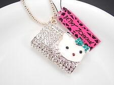 Betsey Johnson personality inlay Crystal handbag pendant necklace # F263A