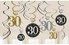 12 x 30th Birthday Hanging Swirls Black Silver Gold Party Decorations Age 30