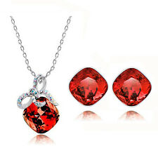 Elegant Red Crystal Rhombus with Bow Jewellery Set Earrings & Necklace S326