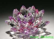 "Beautiful Sophisticate -Clear & Purple-4"" Home Decorative Crystal Lotus Flower"