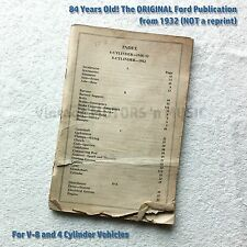 Original 1932 Ford PARTS PRICE LIST for V-8 and 4 Cylinder Cars 128 pgs Book