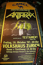 Anthrax & Testament Swiss Gig Poster Among The Living 1987 NEAR MINT BACKSTOCK