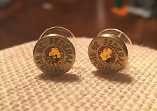 Federal 38 Special Brass Bullet Casing Stud Earrings With Yellow Crystal