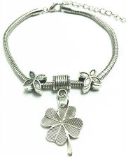 Fashion Vintage Tibetan Silver Clover Charm Bracelet Chain Bangle With Beads DIY
