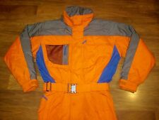 Vtg 80s 90s CB SPORTS Orange Mens MEDIUM Onesie Snow SKI Suit BIB Coat Snowsuit