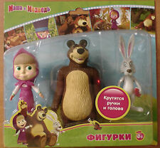 "3 movable toys figures dolls. Masha Medved Hare 3 - 5"" Masha and Bear theme Gift"