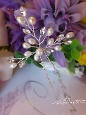 1 x Bridal hair accessories hand beaded pearl and crystal pin wedding bendable