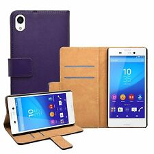 Wallet PURPLE Leather Flip Case Cover Pouch For Sony Xperia M4 Aqua experia