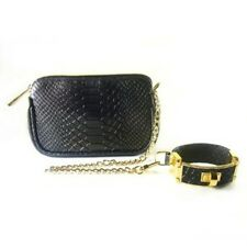 CC Skye The Victoria Wristlet Black Python purse bag detachable bracelet clutch