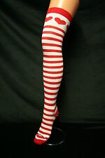 RED HEARTS ON RED&WHITE STRIPE OVER THE KNEE HIGH COTTON SOCKS+RED TOPS&TOES