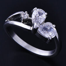 Vogue Womens White Gold Filled 2-Clear Teardrop CZ Ring Size 5 Free Shipping