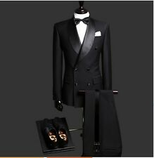 Double Breast Black Groom Suits Men's Formal Wedding Tuxedos With Shawl Lapel