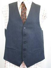 38R S/M - Vintage 70's Mens Blue Striped Waistcoat Suit Vest Mod Retro - B865