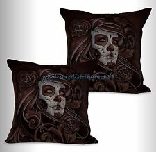 US SELLER- 2pcs lady sugar skull Day of the Dead Dia de Los Muertos couch pillow