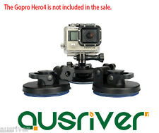 Removable Triple Low Angle Suction Cup Mount for GoPro Mi Xiaomi Yi Sport Camera