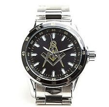 Mason Round-faced Watch, Water-resistant, Three Hand Analog Masonic Black