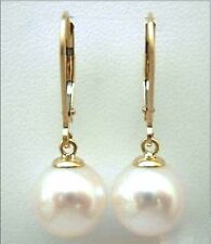 natural 9-10 mm white south sea  Pearl Stud Earrings 14k  GOLD