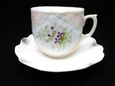 Antique Mustache Cup & Saucer Tiny Violets Pale Pink Glaze Quilt Like Pattern
