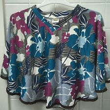 Size 2-3 Floral Kaftan Poncho Top New BNWT Winter Girls Purple Blue Grey
